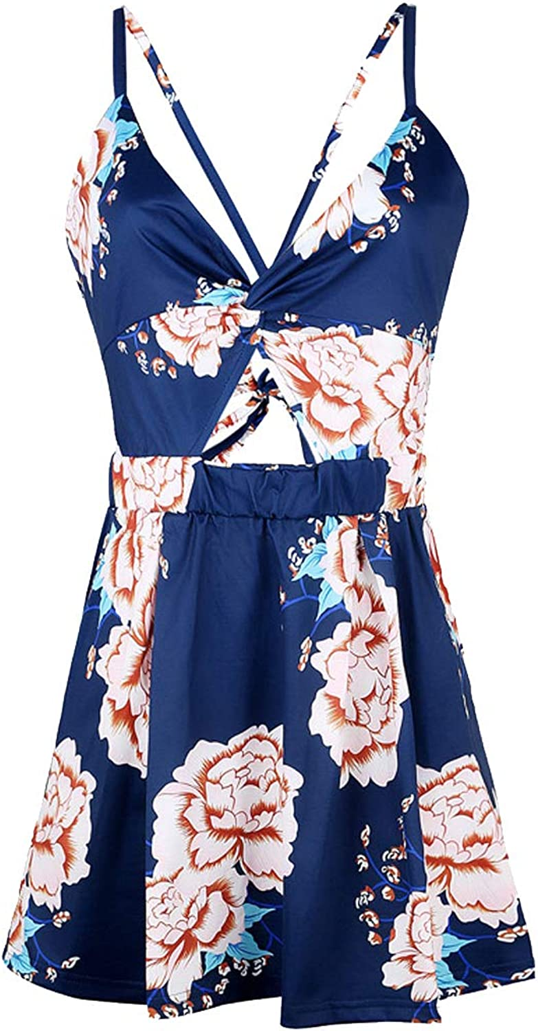 Ccassie Womens Sexy V Neck Rompers Summer Beach Spaghetti Strap Jumpsuit Backless Short Pants Rompers