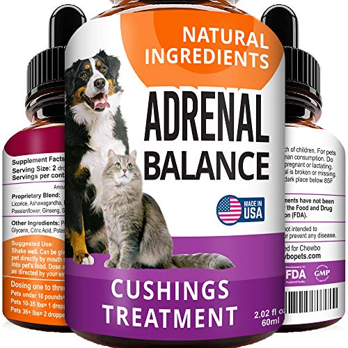 Adrenal Balance for Dogs and Cats - Cushings Treatment for Pets, Adrenal Support w/ Ashwagandha, Licorice Root, Rhodiola Rosea - 2oz Herbal Drops