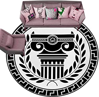 Kitchen Mat Toga Party,Hellenic Column and Laurel Wreath Heraldic Symbol with Olive Branch Graphic,Black White Diameter 72
