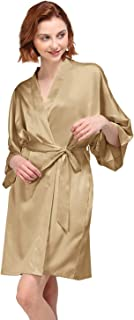 AW Women's Bride Bridesmaid Kimono Robes Short Dressing Gown for Wedding Party - Gold - L(US12-US14)