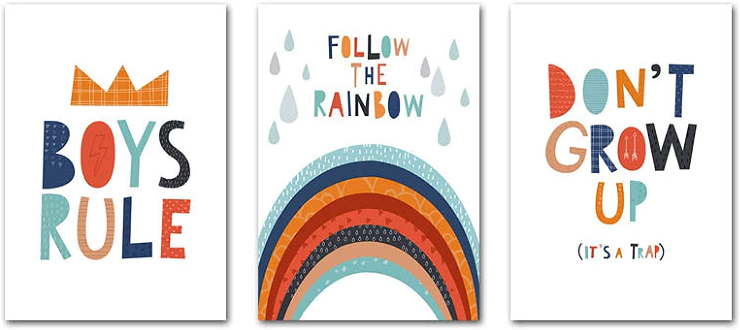 Rainbow Nursery Poster Child and Wall Art 70% OFF Outlet Pi Canvas We OFFer at cheap prices Print