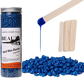 Hard Wax Beans for Hair Removal Natural Jelly Blue Painless Wax Beans Kit (400g) Hair Depilatory Wax for Face Arm Legs Brazilian Private Areas with10pieces Wax Sticks