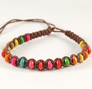 Braccialetto intrecciato Marrone con perline di legno colorate, ideale per l'amicizia o portafortuna