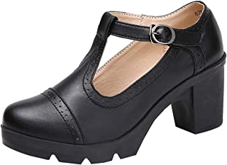 DADAWEN Women's Leather Classic T-Strap Platform Chunky Mid-Heel Square Toe Oxfords Dress Pump Shoes