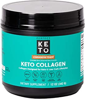 Best New! Perfect Keto Collagen Protein Powder with MCT Oil - Grassfed, GF, Multi Supplement, Best for Ketogenic Diets, Use as Keto Creamer, in Coffee and Shakes for Women & Men (Cinnamon Toast) Review