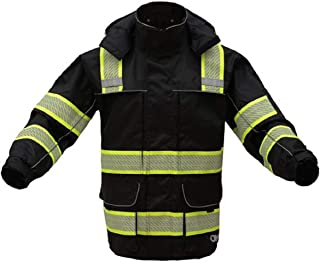 3-IN-1 Performance Winter Parka Jacket with Reflective Tape - Removable Safety Hi Vis Hoodie - High Visibility Jackets for Men or Women (X-Large, Black)