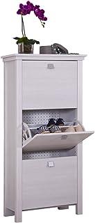 Intradisa 21AB Zapatero Estrecho 3 Puertas abatibles diseño Clasico, Blanco Roto