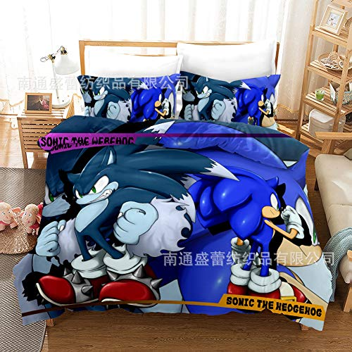 DDTETDY Sonic the Hedgehog Cama para niños Conjunto de 3 piezas Conjunto de sábanas de tamaño doble con sábanas planas para la almohada Fun Fun Chicos lindos Niñas Niñas Edredones Conjuntos reversible