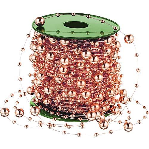 Vorhang Perlen, 98 Fuß Rose Gold String Perlen Perle Kette Kunststoff Garland Hochzeit Perlen Weihnachtsbaum Perlen für Handwerk Tisch Dekoration Schmuck machen
