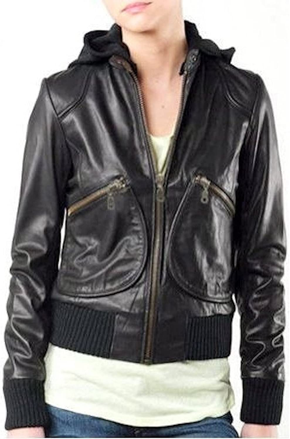 Fadcloset Ladies Sexy Bomber Leather Jacket with Hoody