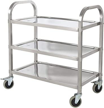 BestValue Go Stainless Steel 3 Tier Kitchen Car Shelf Utility/Service Cart Kitchen Trolley Kitchen Cart with Wheels 75 x 40 x