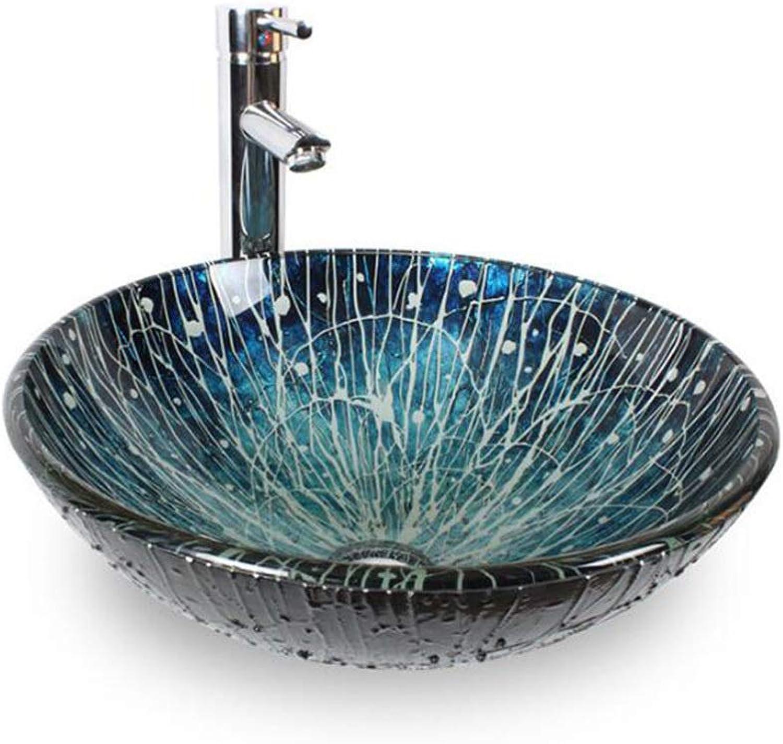 GongDi Waschpltze Waschbecken Sanitr blau handbemalt Glas Kunst Waschbecken Bad über dem Gegenbecken 42  14