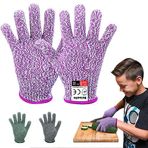 Reinalin Schnittschutzhandschuhe für Kinder, Küchenhandschuhe mit Hoher Schnittschutz der Leistungsstufe 5 für 8-12 Jährige,Lebensmittelkontaktqualität