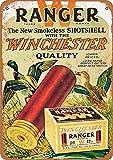 Winchester Ranger Escopeta conchas Póster de metal de pared Placa retro Advertencia Cartel de chapa Decoración de pintura de hierro vintage Artesanías colgantes divertidas para Bar Garage Cafe