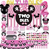 Oh Twodles Minnie Twodles Birthday Party Supplies Decorations Mouse Banner Cake Topper 2nd Banner Balloon Minnie Backdrop Cupcake Topper for Girls Baby Bday