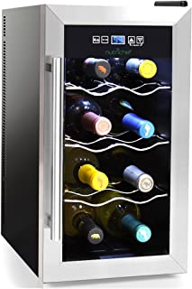 NutriChef 8 Bottle Thermoelectric Wine Cooler/Chiller, Wine Counter Top Red and White Wine Cellar |, FreeStanding Refrigerator, Quiet Operation Fridge | Stainless Steel