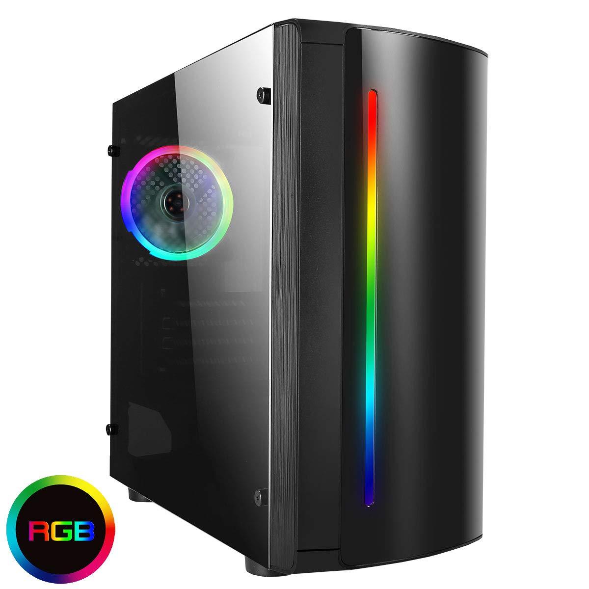 CiT Beam - Carcasa para Videojuegos con diseño de arcoíris RGB, 1 Ventilador de acrílico RGB: Amazon.es: Informática