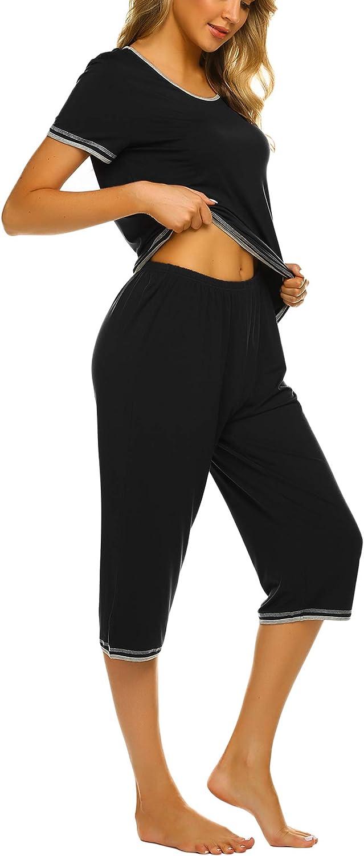 Ekouaer Womens Pajama Sets Sleepwear Short Sleeve Classic Tops with Capri Pjs Set