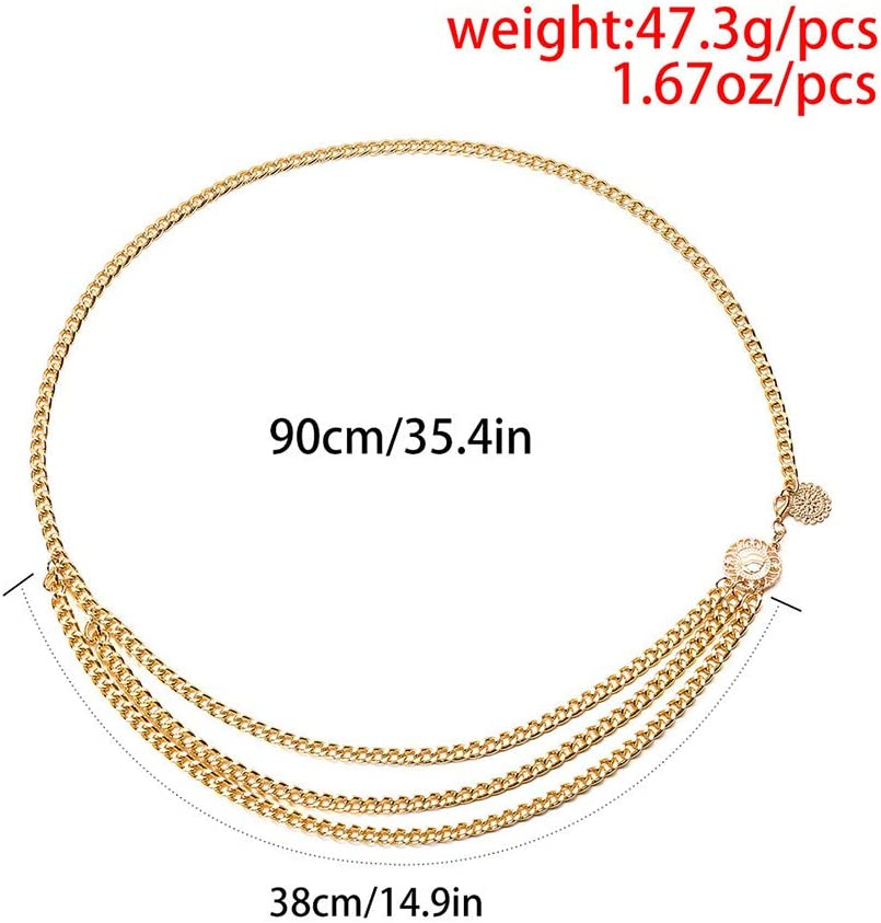 Xerling Simple Fashion Waist Chain Multi Layered Belly Chain Gold Sunflower Coin Body Chain for Women Girls Daily Wear (Gold)