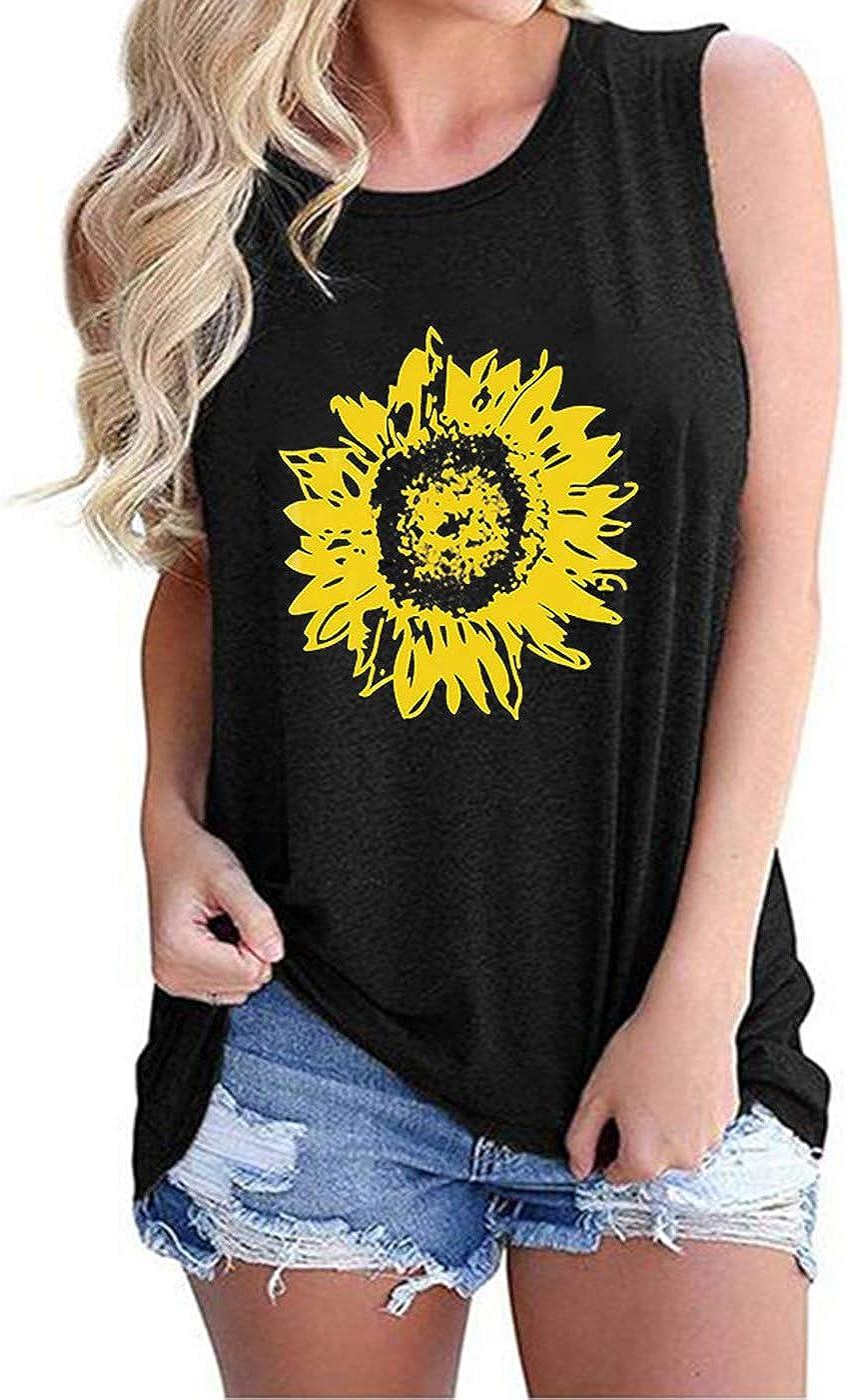 Epsion Womens Sunflower Graphic Tank Tops Sleeveless Casual Summer Cami Tunic Shirts