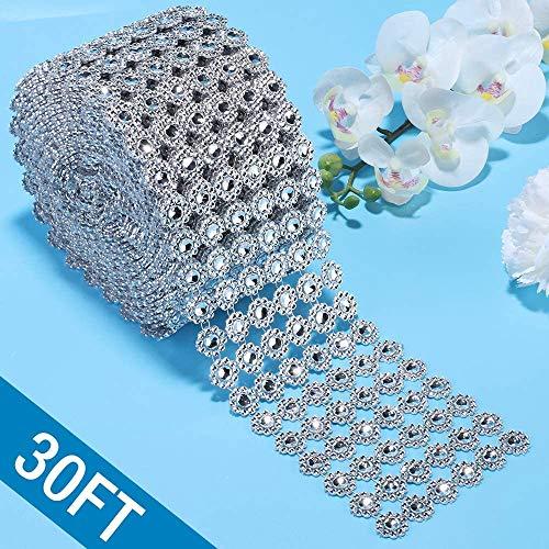 Diamond Ribbon, Bling Diamond Wrap Silver Flower Mesh Ribbon for Event Decorations, Wedding Cake, Bridal & Party Decorations Acrylic Bling Rhinestone Roll (1 Roll, 6 Rows,30 Feet)(Flower-Silver)