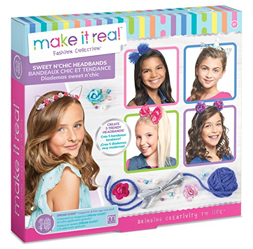 Make It Real - Sweet n' Chic Headbands. Trendy and Stylish Tween Girls DIY Headband Kit Guides Kids to Create Five Unique Hair Headbands with Beads, Ribbons, Gems and More
