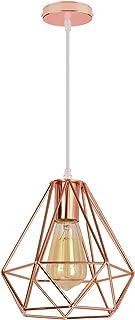 iDEGE - Lámpara de techo con forma de jaula, estilo vintage, para comedor, salón, dormitorio y restaurante, diámetro 20 cm (oro rosa)