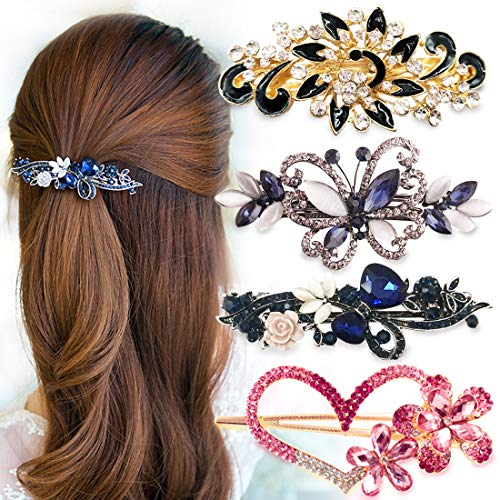 MOAMUN 4 Packs Herzförmige Kristall Haarspangen Pfau Strass Französisch Haarspange, Braut Haarschmuck Zubehör für Hochzeit Haar Pins für Frauen Braut Brautjungfern
