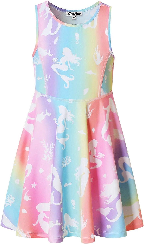 Jxstar Girls Unicorn Dresses Rainbow Kid Sleeveless Party Floral Print 3-13Years