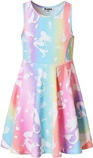 فساتين Jxstar للفتيات وحيد القرن بألوان قوس قزح بدون أكمام للحفلات طباعة زهور 3-13 سنة