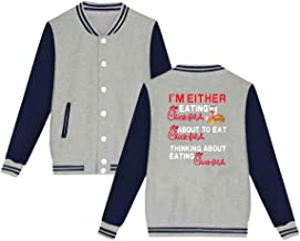 Lakssn Mens Womens Unsiex I'm Either Eating Chick-FIL-A Sweater Long Sleeve Jumper Sweat Baseball Jacket for Men Women