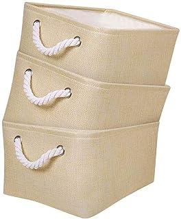 Mangata Boîtes de Rangement avec Poignée, Caisse de Rangement pour Tissu, pour Armoire, Vêtements, Linge, Jouets etc. Pack...