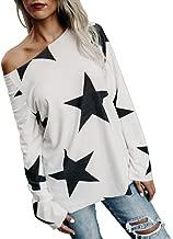 Women Girl Strapless Star Sweatshirt Long Sleeve Crop Jumper Pullover Tops