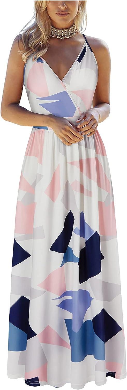 VOTEPRETTY Womens V Neck Wrap Spaghetti Strap Summer Casual Beach Floral Pockets Maxi Dress