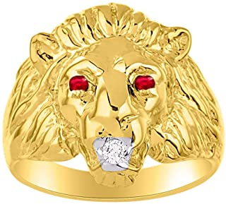 RYLOS Amazing Conversation Starter Set with Genuine Diamond & Gorgeous Precious Ruby, Sapphire or Emerald Lion Head Ring Set in 14K Yellow Gold Plated Silver