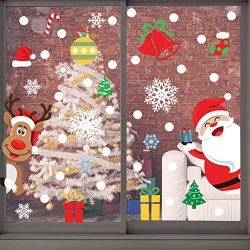 Angoily 8 Blatt 265PCS Kinder Fensterbilder Weihnachten Selbstklebend Weihnachten Fenstersticker für Weihnachten Fenster Dekoration