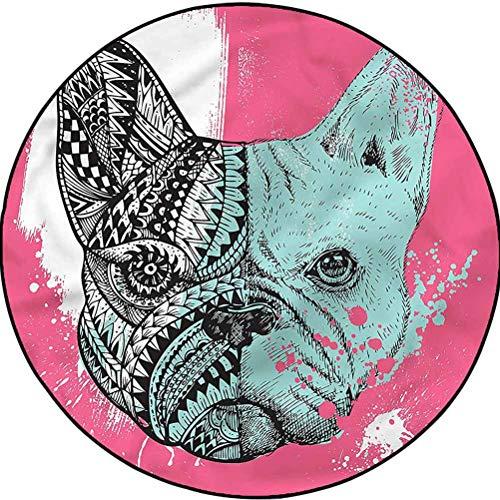 Modern Outdoor Round Rug Hallway Entry French Bulldog Vivid Artwork Diameter 63.3 in(161cm)