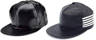 9dc476a999e02 Hozie Unisex Leather Classy Style Hip-Hop Cap Combo (Black, Free Size)