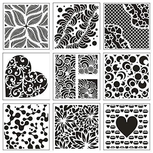 Heiqlay Abstrakt Malschablonen Zeichenschablonen Schablonen Set, Sprühschablonen Schablonen Blumen Zeichenhilfen für Studenten, 13x13 Cm, 9 Stück