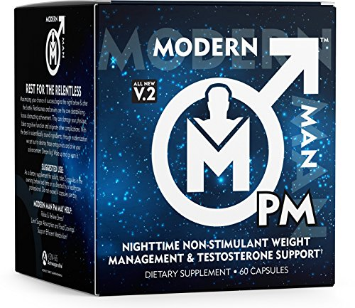 Modern Man PM Fat Burner - Sleep Aid, Weight Loss & Testosterone Booster for Men, Best Night Time Metabolism Booster & Caffeine Free Sleep Supplement | Burn Belly Fat & Build Lean Muscle, 60 Pills