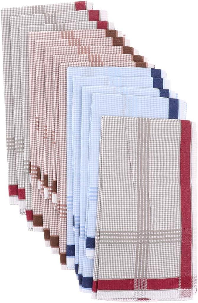 Bonarty 12pieces Fashion Men Handkerchiefs Square Wedding Party Hanky 4343cm