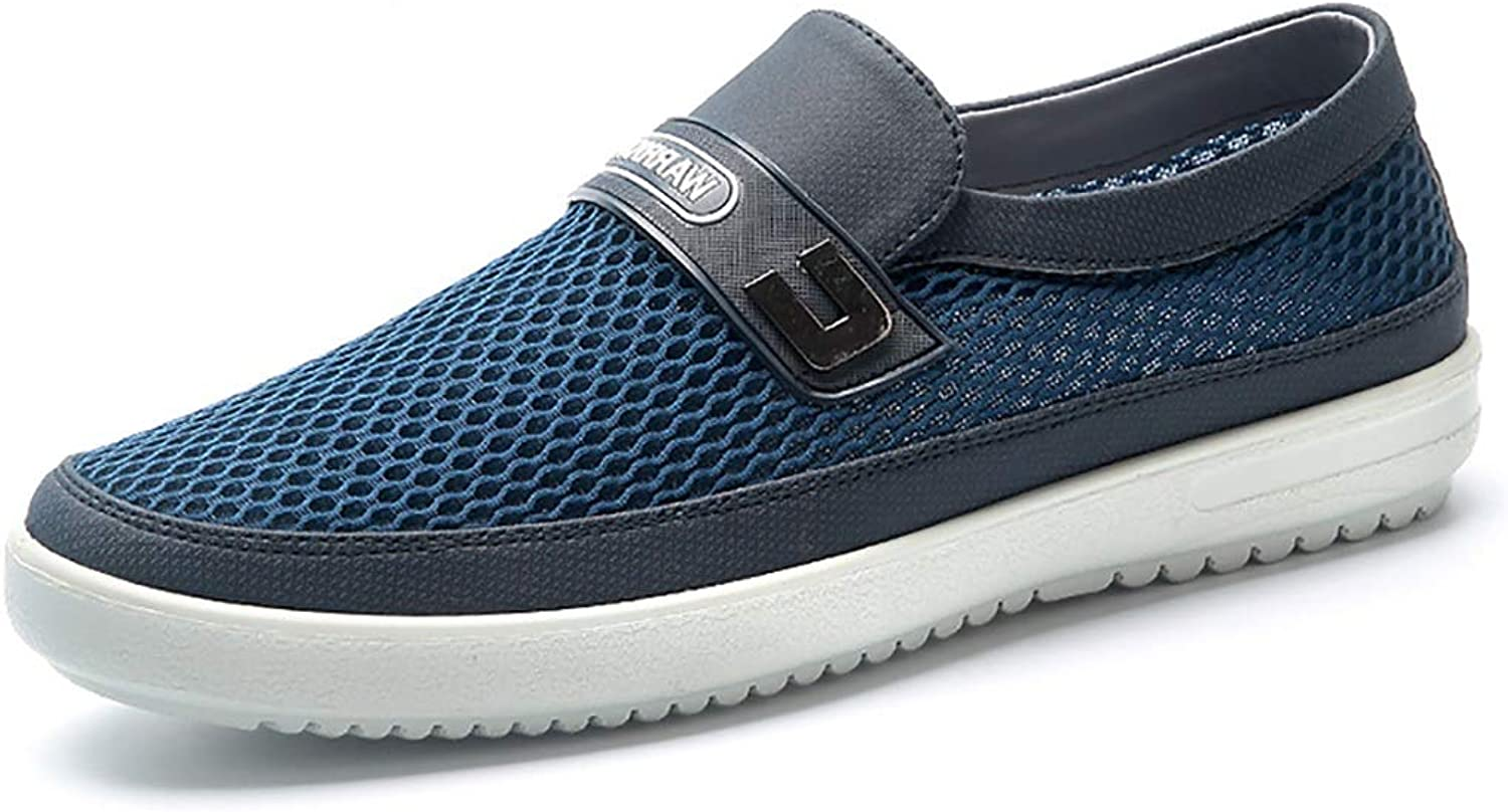 GAIQIN Casual shoes Mesh shoes Men's shoes Summer Breathable Deodorant Mesh shoes Lazy Casual shoes Lightweight Slip (color   bluee, Size   39)