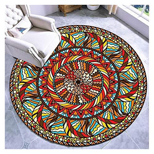 WZLL Alfombra Redonda Alfombra De Sala Lavable Estilo Nacional Mandala Redonda Alfombras para Usado para Cocina Salón Sofá Estera De Mesa De Café (Color : H, Size : Ø100cm)