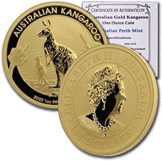 2020 AU 1 oz Australian Gold Kangaroo w/Certificate of Authenticity $100 Brilliant Uncirculated