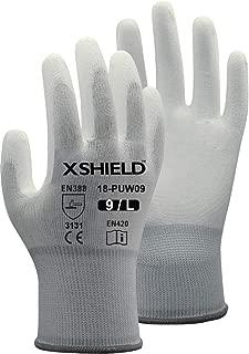 XSHIELD 17-PUG,Polyurethane/Nylon Safety WORK Glove,12 Pairs (Large, White)