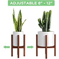 Mudeela Bamboo Wood Adjustable Plant Stand (8 to 12 inches) (Brown)