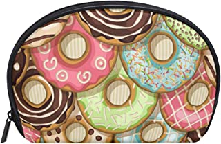 MASSIKOA Donuts Cakes Cosmetic Bag Travel Handy Organizer Pouch Makeup Bags Purse for Women Girls