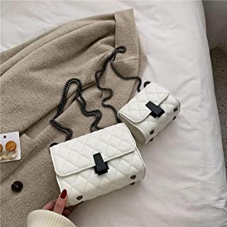 Trendy generous super cute Textured rhombus pouch bag chain shoulder messenger bag fashion casual small square bag,Colour:...