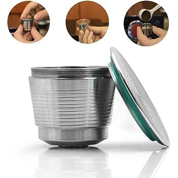 Prenine Cápsula De Café Metal Inoxidable Reutilizable De Metal Recargable BPA Gratis para Nespresso U MáQuina De Café para CaféS con Cuchara Y Cepillo, Plateado: Amazon.es: Hogar