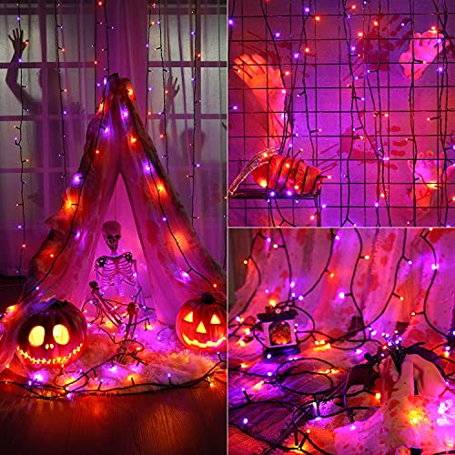 Brizled Purple & Orange Halloween Lights, 78.74ft 240 LED Halloween String Lights Connectable with Timer, 8 Modes Outdoor Halloween Lights, Plugin Mini Lights Waterproof for Outside Spooky Decoration